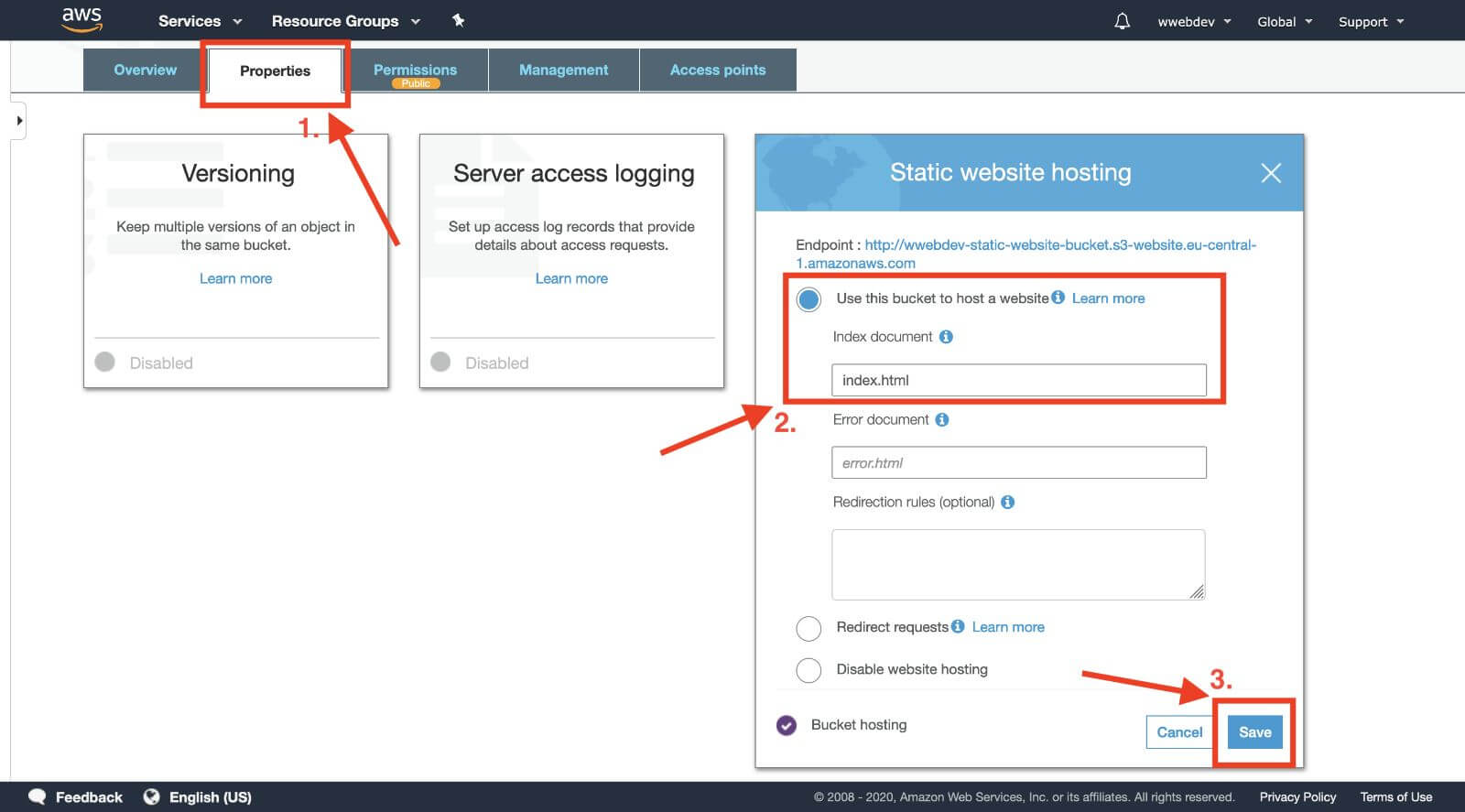 aws s3 bucket enable website